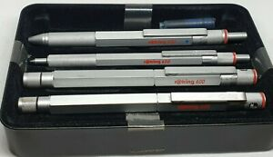 RARE Vintage Rotring 600 Pen Set with Case Trio, Fountain, Roller and Ballpoint