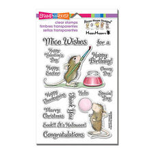 HOUSE MOUSE RUBBER STAMPS CLEAR PAINTED WISHES STAMP NEW clear SET