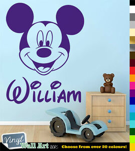 PERSONALISED BOYS NAME Mickey Mouse Disney Vinyl Wall Art Sticker Decal FREE P&P