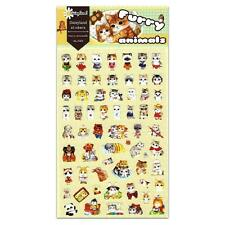 CUTE FURRY ANIMALS STICKERS Cat Dog Kawaii Paper Sticker Sheet Craft Scrapbook