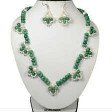 473 Cts Natural Emerald & Freshwater Pearl Round Cab Beaded Handmade Jewelry Set