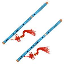 2 Set Blue Traditional Chinese Bamboo Flute Dizi Pluggable F Key Instrument