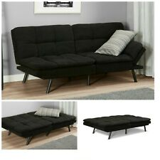 SLEEPER SOFA BED Black Suede Convertible Couch Modern Living Room Futon Loveseat