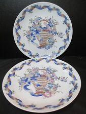"Vintage Macau Pottery Basket Of Colorful Flowers 2 Plates 10 1/4"""