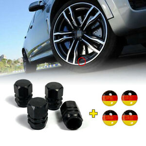 4PCS Wheel tire cap Black Aluminium air valve stem Cover Germany Flag Sticker