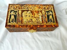 "Egyptian Camel Leather Jewelry Box King Tut & Isis Offering Design 9"" X 5"""