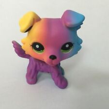 Custom OOAK LPS colorful Collie dog green eyes Hand Painted LITTLEST PET SHOP