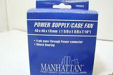 NEW 700665 Manhattan 4 Pin Molex Power Supply/Case Fan 40x40x10mm Sleeve Bearing