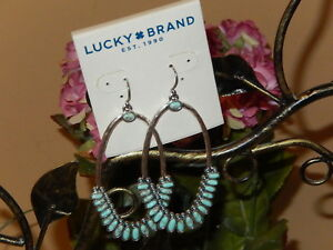 LUCKY BRAND TURQUOISE SILVER-TONE HAMMERED MAJOR DROP HOOP EARRINGS $35 NWT