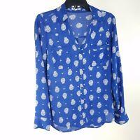Express Portofino Shirt Small Blue White Paisley Long Sleeve Button Down Blouse