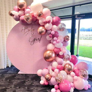 Pink Balloon Garland Arch Kit 150Pcs Pink Rose Gold Chrome Balloons for Birthday