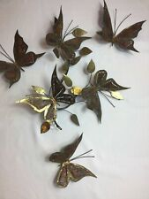 Mid Century Metal Butterfly Wall Sculpture 4 Pieces