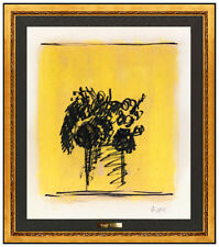 Robert Kulicke Original Gouache Painting Flowers Vase Modern Artwork Hand Signed