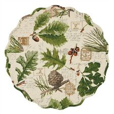 Wildlife Trail ~ Pine Cones Acorns Forest Leaves Cotton Round Placemat ~Quilted