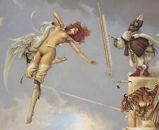 Michael Parkes LADY OF THE ROCKS nude redhead woman fantasy surreal art print