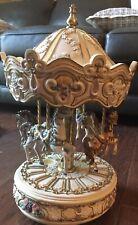 "1995 Vintage 14"" San Francisco Music Box Co 4 Horse Carousel Music Box"