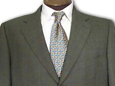 $2495 Ermenegildo Zegna Wool Olive w/ Blue window panes Sport Coat size 44 B083