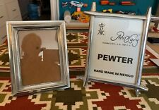 Pair of Made in Mexico Pewter Picture Frames 5x7 4x6 heavy w/Glass