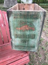 "Vintage VACUUM OIL Co. GARGOYLE Mobiloil ""A"" Wooden Can BOX CRATE Gas Mobil Sign"