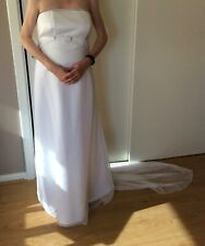 AM/PM label white chiffon beaded long evening wedding dress with train