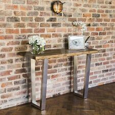 SALE eGB724 New Detroit Reclaimed Elm Wood Console Table with Brushed Steel Base