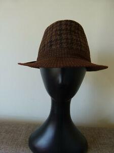 Men's Brown Houndstooth Pattern Trilby Fedora Hat Cotton Blend Size 58