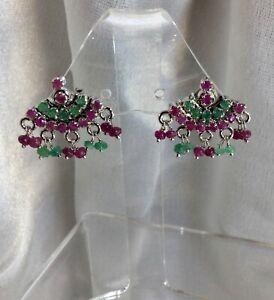 Ruby Emerald Sterling Earrings,Val $300+.NEW.