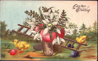 Easter~CHICKS PLAY TEETER TOTTER~PUSSY WILLOW~COLORED EGGS~Gold~Postcard Germany