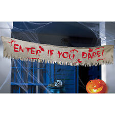 HALLOWEEN HORROR CREEPY CARNIVAL CLOTH BANNER ENTER IF YOU DARE PARTY DECORATION