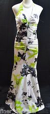 Morgan & Co Sleeveless Prom Formal Long Dress ruched geo GOWN flare hem 3 4 NEW