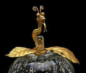 NEW in BOX STEUBEN glass BUBBLE APPLE of EDEN 18K GOLD ORNAMENTAL JAMES HOUSTON!