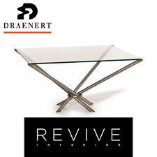 Draenert Glass Coffee Table Metal Brass Table Square #13871