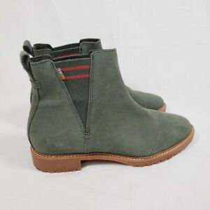 TOMS Cleo Chelsea Boots 8 Dusty Olive Water Resistant Suede Red Stripe
