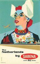 SABENA BELGIUM WORLD AIRLINES TO THE NETHERLANDS VINTAGE AVIATION LUGGAGE LABEL