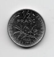 World Coins - France 1/2 Franc 1965 Coin KM# 931.1 ; Lot-F4