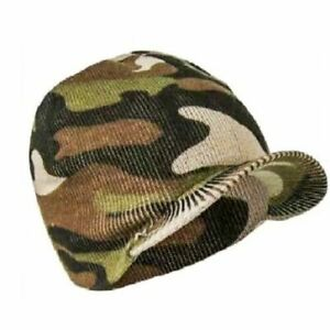 Mens Camouflage Peaked Beanie Hat Winter Warm knitted Camo Cap Army Style