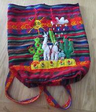 VTG Ladies Unbranded Bright Multicoloured Ethnic/Boho Tie Top Detailed Backpack