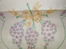 "VTG EMBROIDERY FLOWERS UNBLEACH COTTON DRESSER SCARF TO FINISHED 13"" BY  39"""