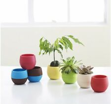 Hot White Mini Round Plastic Plant Flower Pot Office Garden Home Planter Decor