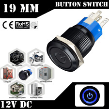 12V 19mm Blue LED Power Symbol Angel Eye Push Button Metal On/Off Toggle Switch