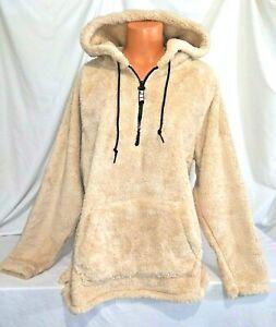 Victorias Secret Pink SHERPA TEDDY Half Zip Pullover Hoodie Sweatshirt NWT M