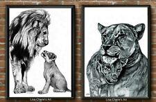 Mother Father and Baby Lion Nursery Art Prints, Animal Nursery Decor,Lion Family