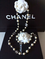 CHANEL Stunning White Pearl Silver Classic CC Logo Long Necklace