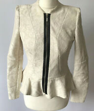 River Island Fitted Cream Lace Jacket Peplum Faux Leather Accent Evening UK 10