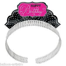 12 Stylish Black & Pink Happy Birthday Party Cutout Foil Tiara Headbands Hats