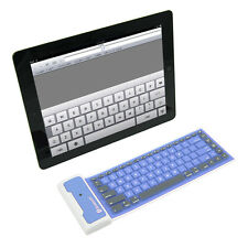 BLUE Foldable Soft Silicone waterproof Bluetooth Keyboard for iPad air 4 3 mini