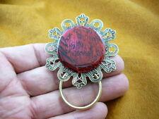(#E755) Red pink Paua shell Eyeglass pin brooch ID badge holder