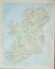 1955 LARGE MAP IRELAND BELFAST DUBLIN LIMERICK CORK WATERFORD KILLARNEY CLARE