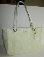COACH Ivory PATENT LEATHER Tote F17729 Purse NWOT Large Shopper BAG Embossed