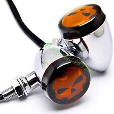 Skull Lens LED Turn Signals Blinker For Harley HD Softail Deluxe FLSTN All Years